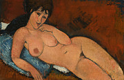 Amedeo Framed Prints - Nude on a Blue Cushion Framed Print by Amedeo Modigliani