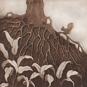 Tree Roots Reliefs Metal Prints - Nut Maze Metal Print by Suzette Broad