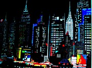 Mahattan Framed Prints - NYC Night Skyline  Framed Print by Tony Beo