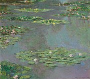 Lilies Posters - Nympheas Poster by Claude Monet