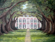 Oak Alley Plantation Painting Framed Prints - Oak Alley Plantation  Framed Print by Mona  Stilson