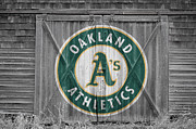 Baseball Glove Posters - OAKLAND As Poster by Joe Hamilton