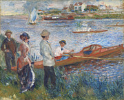 River Framed Prints - Oarsmen at Chatou Framed Print by Pierre-Auguste Renoir