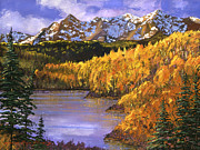 Fir Trees Painting Prints - October Colors Print by David Lloyd Glover