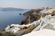 White Walls Framed Prints - Oia Village Santorini Greece Framed Print by Carole-Anne Fooks