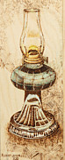 Oil Lamp Pyrography Prints - Oil lamp Print by Robert Jerore