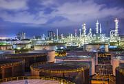 Gas Tower Prints - Oil Refinary Industry Print by Anek Suwannaphoom