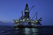 Sea Platform Prints - Oil Rig At Night Print by Bradford Martin
