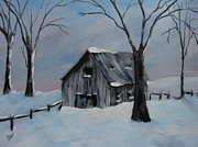 Snow Tree Prints Prints - Old Barn Print by Beverly Livingstone