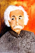 Blue White Silver Yellow Red Gold Prints - Old Einstein Print by Olguta Robu
