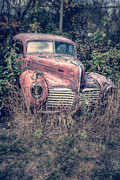 Junkyard Framed Prints - Old Junker Car Framed Print by Edward Fielding