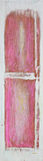 Pink Sculpture Posters - Old Pink Kitchen Door Emanating Light Poster by Asha Carolyn Young