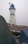 Lying In Wait Metal Prints - Old Scituate Lighthouse Metal Print by Skip Willits