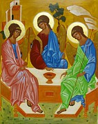 Russian Icon Painting Posters - Old Testament Trinity Poster by Joseph Malham