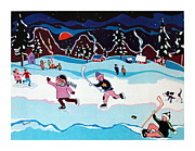 Pond Hockey Paintings - On Frozen Pond by Joyce Gebauer