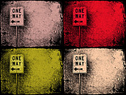 Street Sign Digital Art Posters - One Way Street Poster by Tara Turner