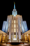Fountain Photo Prints - Oquirrh Mountain Temple 1 Print by Chad Dutson