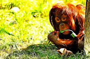 Orangutan Digital Art Metal Prints - Orangutan Metal Print by Lars Tuchel