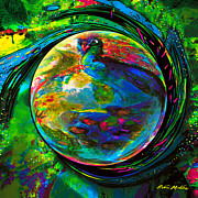 Spheres Digital Art - Orb of Pavone by Robin Moline