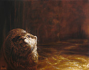 Otter Paintings - Otter Curiosity by Cara Bevan