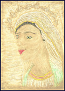 Virgin Mary Pastels Posters - Our Lady Mary Poster by Lyn Blore Dufty