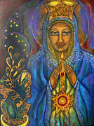Contemporary Sacred Icon Painting Framed Prints - Our Lady of Starglow Stillness Framed Print by Marie Howell Gallery