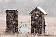 Outhouses Metal Prints - 2 Outhouses In The Snow Metal Print by Teresa Morris