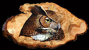 Owl Pyrography Metal Prints - Owl on Oak Slab Metal Print by Ron Haist