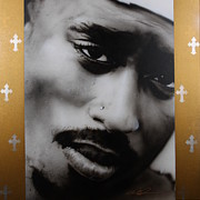 Famous People Painting Prints - 2 Pac Print by Christian Chapman Art