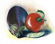 Fresh Vegetables Painting Posters - Painted..cooked.. Poster by Alessandra Andrisani