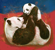 Lit Mixed Media Posters - Panda mum with baby - stylised drawing art poster Poster by Kim Wang