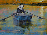 Panda Bear Paintings - Panda Reflections by Michael Creese