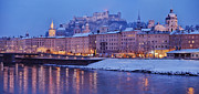 Winter Travel Framed Prints - Panorama of Salzburg in the Winter Framed Print by Sabine Jacobs