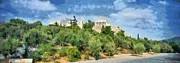 Temple Paintings - Panoramic painting of Acropolis of Athens by George Atsametakis