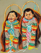 Indian Pastels Prints - Papoose Twins Print by Judy Sprague
