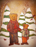 Chicago Bears Paintings - Pappa Bear And Son by Marla Hoover