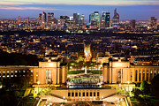 Paris Panorama France At Night Print by Michal Bednarek