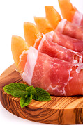 Italian Meal Posters - Parma ham and melon Poster by Jane Rix