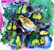Pear Tree Painting Metal Prints - Partridge in a Pear Tree  Metal Print by Trudi Doyle