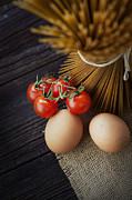 Pasta Ingredients Print by Mythja  Photography