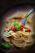 Pasta With Tomato Sauce Print by Mythja  Photography