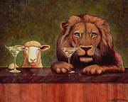 Lion And Lamb Framed Prints - Peaceable Kingdom with two olives Framed Print by Will Bullas