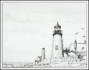 Pemaquid Lighthouse Drawings Metal Prints - Pemaquid Point Lighthouse Metal Print by Mariarosa Rockefeller