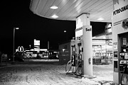 petro canada winter gas fuel pump at service station Regina Saskatchewan Canada Print by Joe Fox