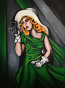 Photographer Paintings - Photographer in Green by Shari Mallinson