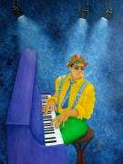 Green Painting Originals - Piano Man by Pamela Allegretto