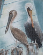 Fishing Creek Prints - Pier Pals Print by Pamela Poole