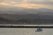 Docked Sailboat Framed Prints - Pillar Point Harbor Below Half Moon Bay Hills Framed Print by Scott Lenhart