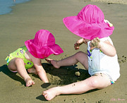 Sun Hat Prints - Pink Hats Print by Ellen Henneke