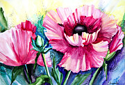 Watercolor Mixed Media Posters - Pink Poppies Poster by Slaveika Aladjova